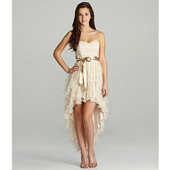 aca608355f5 Freeze Me Strapless Corkscrew HighLow Ruffle Dress.  M_5a8a481b3b1608161d3d45e9
